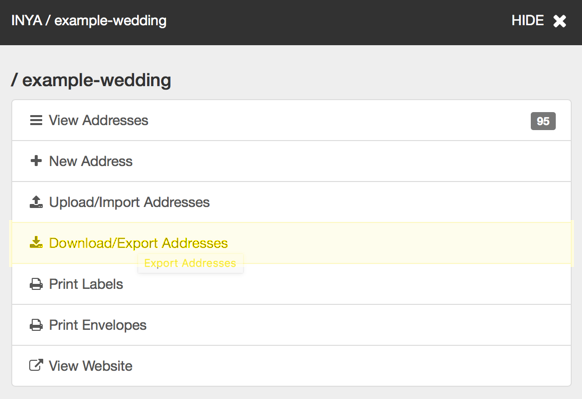 INYA Update: We've made it easier to export and download your addresses!