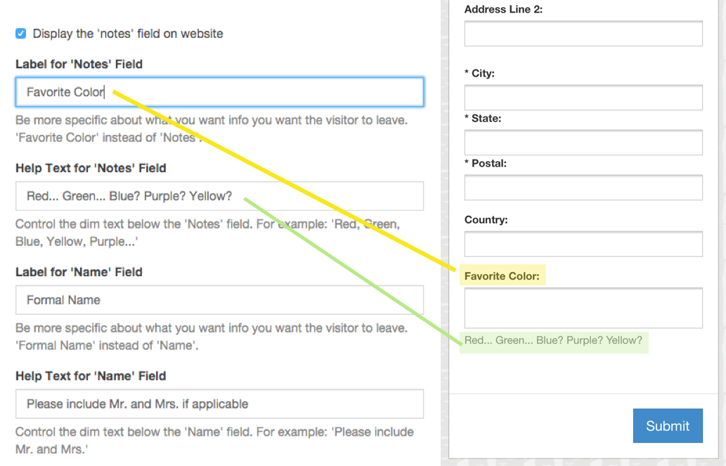 Customize Your Website's Text Fields