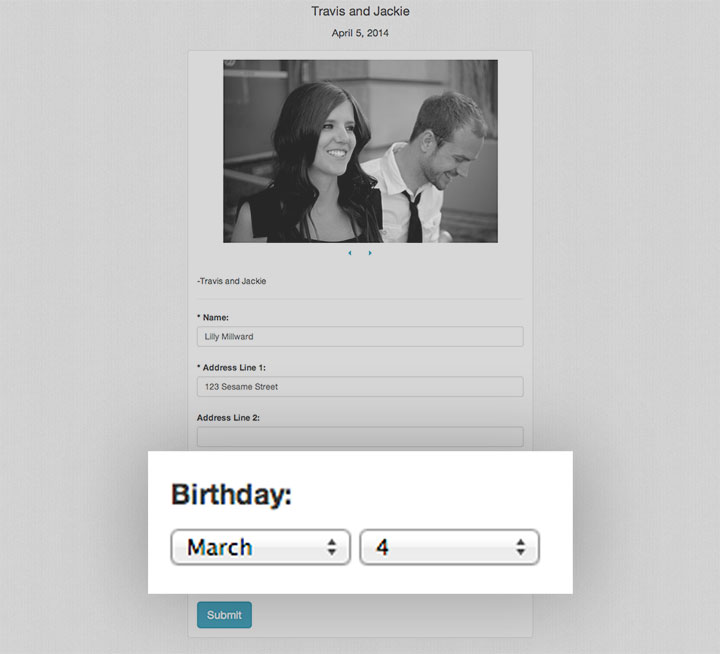 New feature to display a birthday field on your website!